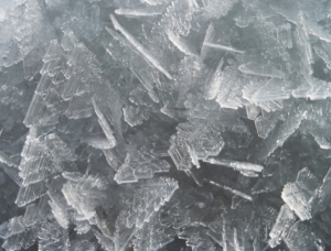 Stucture of crystal snow surface from 3 cm distance (close-up)