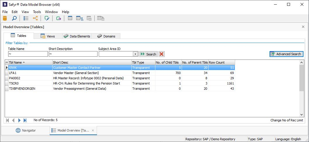 Attribute search results SAP tables with data
