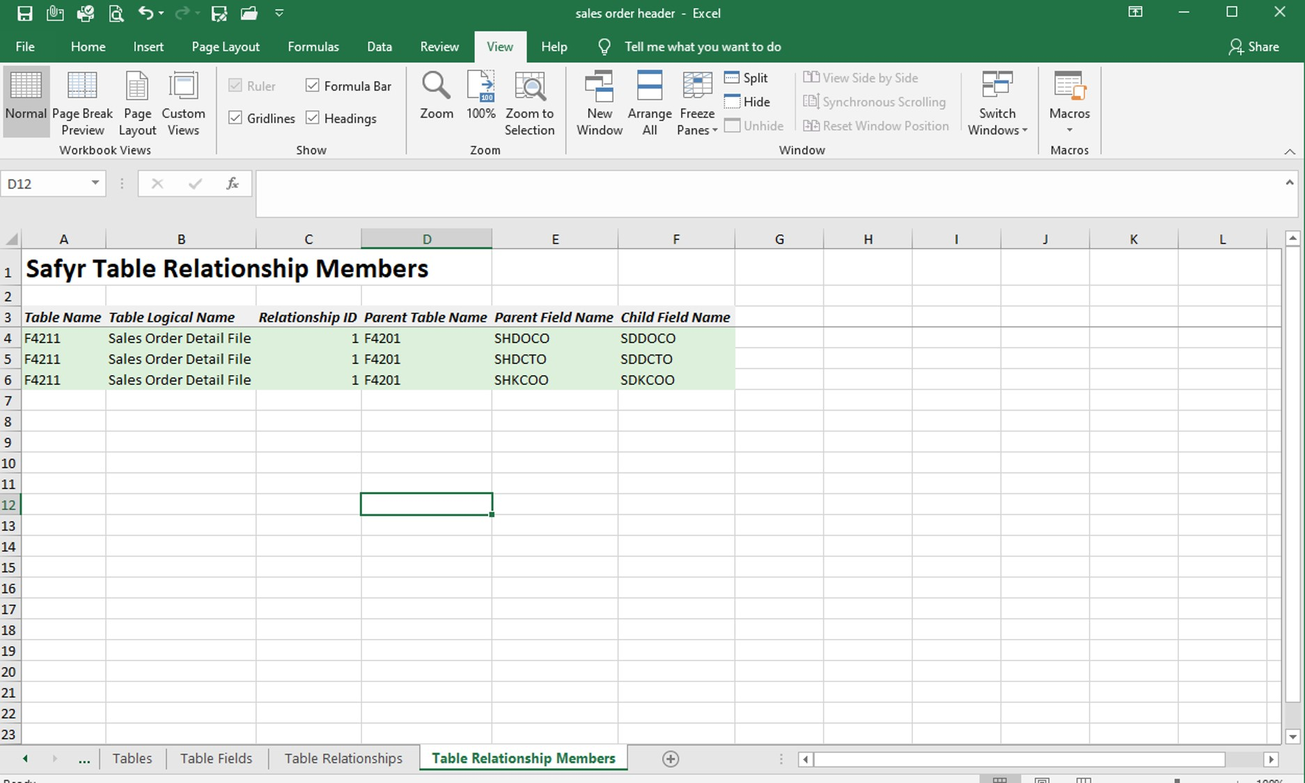 Information about JD Edwards data tables exported to Excel