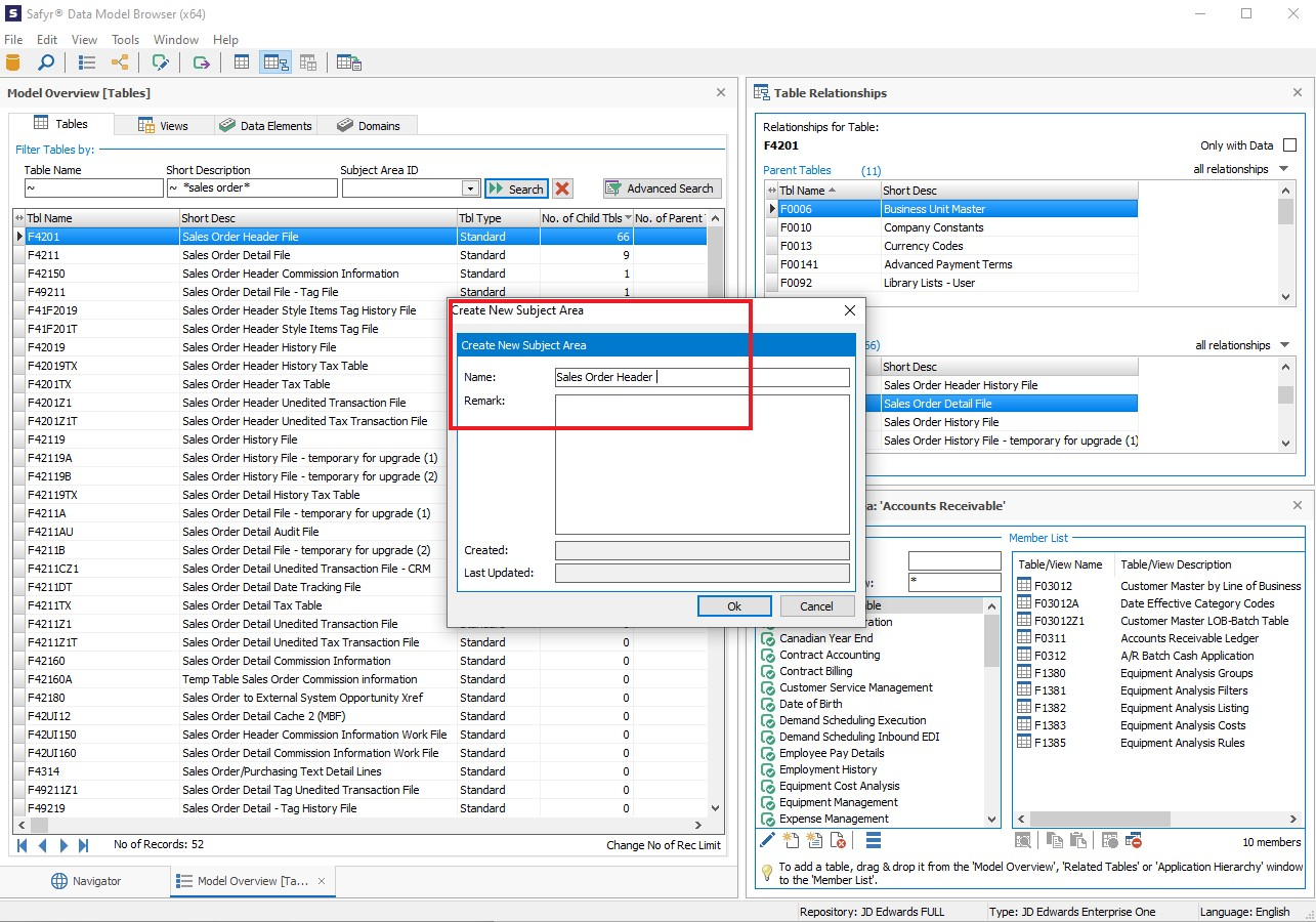 Creating a Subject Area from JD Edwards data tables in Safyr